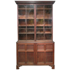 Tall Antique Mahogany and Glass Door Mercantile Cabinet