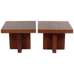 Pair of Clean Lined Walnut End Tables by Milo Baughman