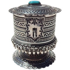 Navajo Artist Sunshine Reeves Blue Ribbon Winning Vessel Sterling and Turquoise