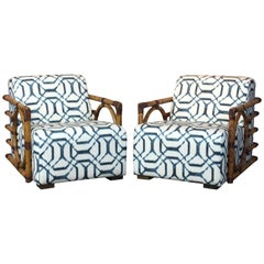 Pair of Art Deco Inspired Rattan Lounge Chairs