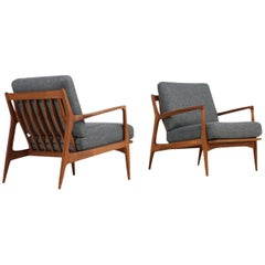 Pair of 1960s Ib Kofod Larsen Danish Easy Chairs Teak New Upholstery