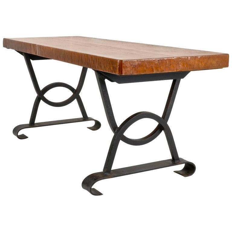 Oak and Iron Bench or Low Table, France, circa 1960s