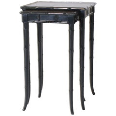 Pair of Tall Nesting Tables with Original Leather Tops, circa 1970