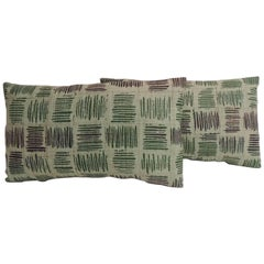 Pair of Vintage Hand Blocked Green and Brown Decorative Lumbar Pillows