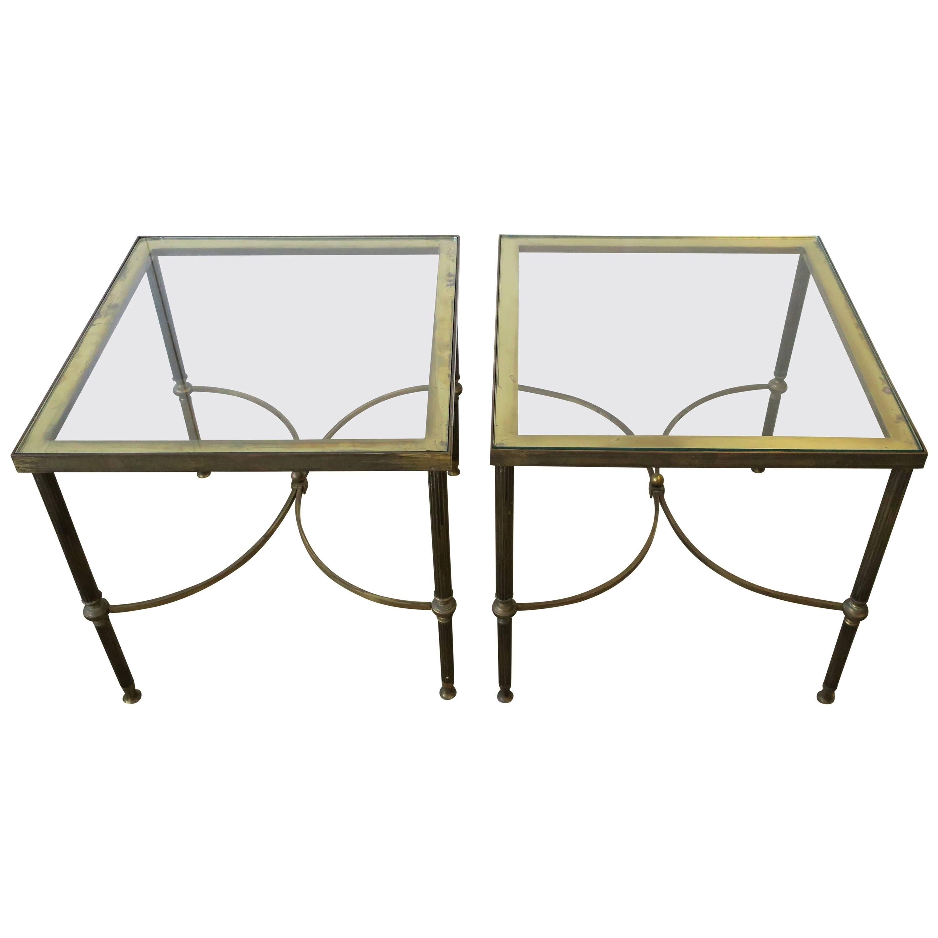 Brass and Glass End Tables after Maison Jansen, Pair