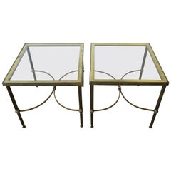 Pair of Midcentury Brass and Glass End Tables after Jansen