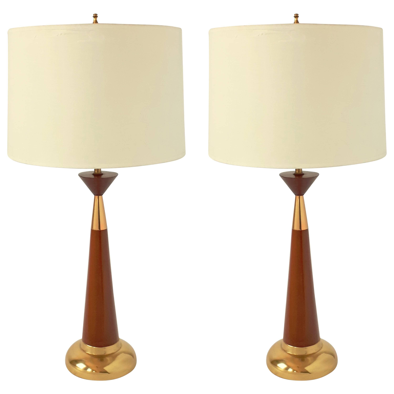 Pair of Tony Paul style  Walnut Table Lamp, 1950s, USA
