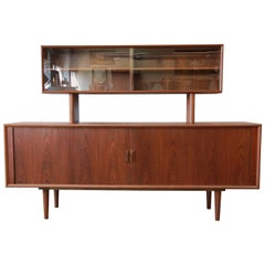 Ib Kofod-Larsen for Faarup Møbelfabrik Danish Modern Teak Credenza with Hutch