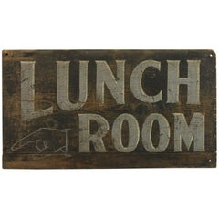"1920s Hand Painted Wood Sign ""Lunch Room"""