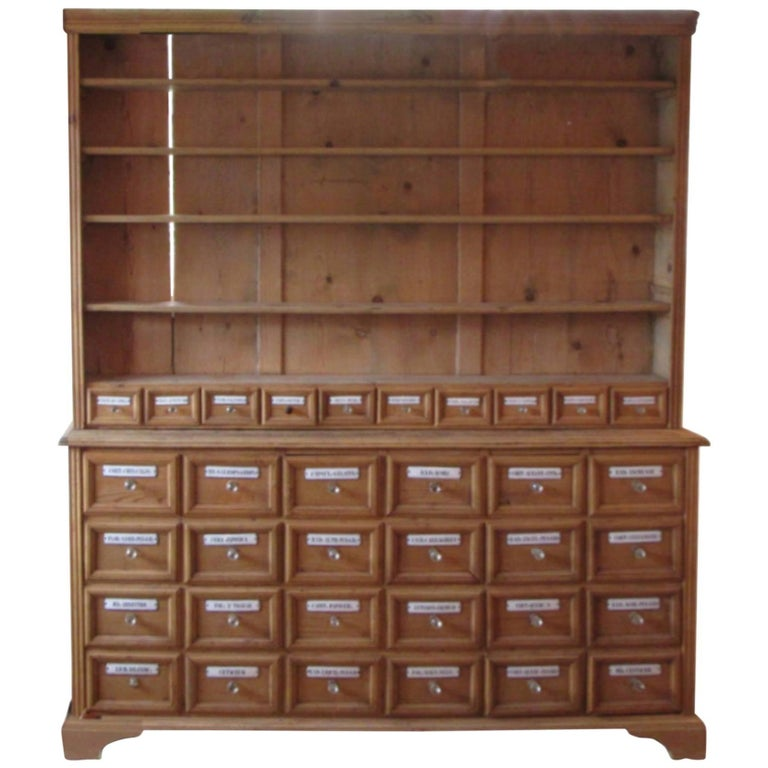 Pine Apothecary Cupboard with Enamel Labelled Drawers For Sale