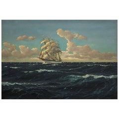 Patrick von Kalckreuth, 1898-1970, 'Full Sail' Oil on Canvas, Signed