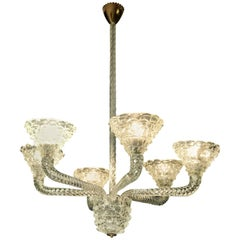 Italian Design Chandelier by Barovier & Toso , Stunning Quality, 1940s