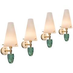 Roberto Guilio Rida, Set of Four Italian Brass and Glass Pigna Sconces