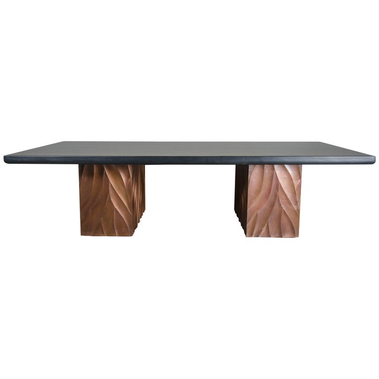 Za Xian Dining Table Base 'Pair', Antique Copper by Robert Kuo, Limited Edition