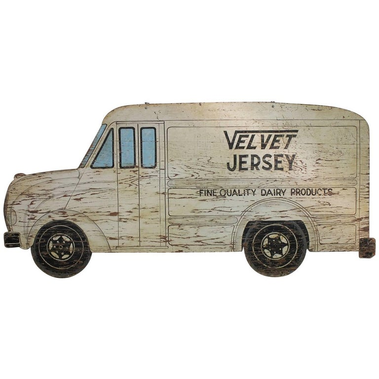 1930s Double Sided Hand-Painted Milk Truck Wood Sign For Sale