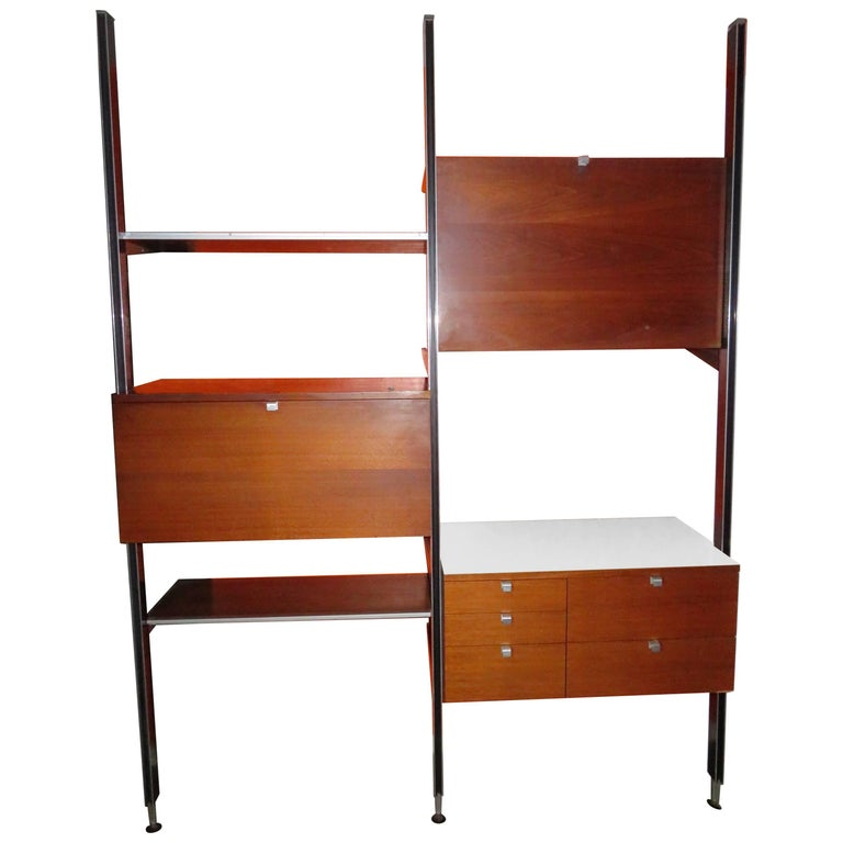 Two Bay Css Wall Unit Walnut by George Nelson Herman Millerm, Mid-Century For Sale