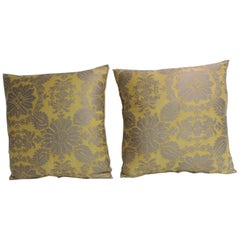 Pair of Vintage Yellow and Gold Floral Fortuny Decorative Pillows