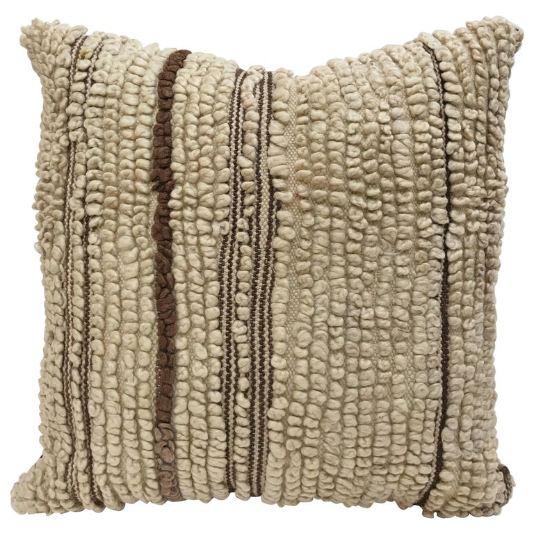 Custom Moroccan Pillow Cut From A Hand-Loomed Wool Berber