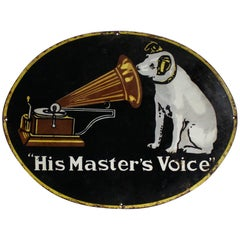His Masters Voice Porcelain Advertising Sign