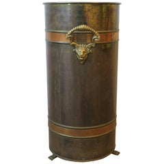 Vintage European Regency Brass and Copper Umbrella Stand, Holland