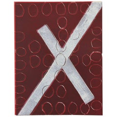 Wyona Diskin, White X on Red, Abstract Monoprint, circa 1985