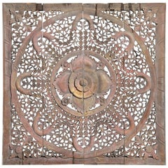 Carved Ceiling Panel with Flower Motifs