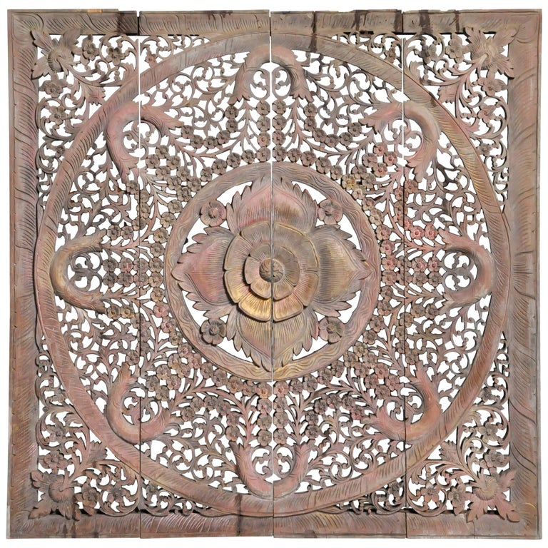 Carved Ceiling Panel with Flower Motifs 1