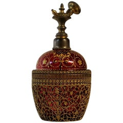 Cranberry Glass Perfume Bottle with Filigree and Gold Enamel