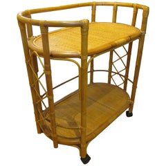 Mid-Century Bamboo and Cane Bar Cart