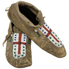 Antique Native American Beaded Moccasins, 19th Century, Plains