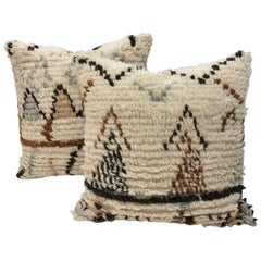 Custom Pair of Moroccan Pillows Cut from a Hand-Loomed Wool Berber Rug