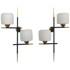 Pair of Linear Modernist Sconces with Opaline Glass Shades by Gaston Fossati