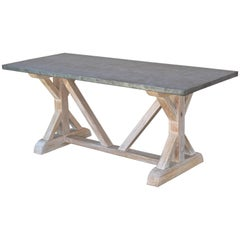 Zinc Top Farm Table in Vintage Heart-Pine, Made to Order by Petersen Antiques