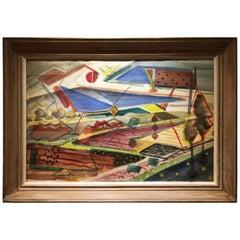 Large 1950s, Cubist Watercolor