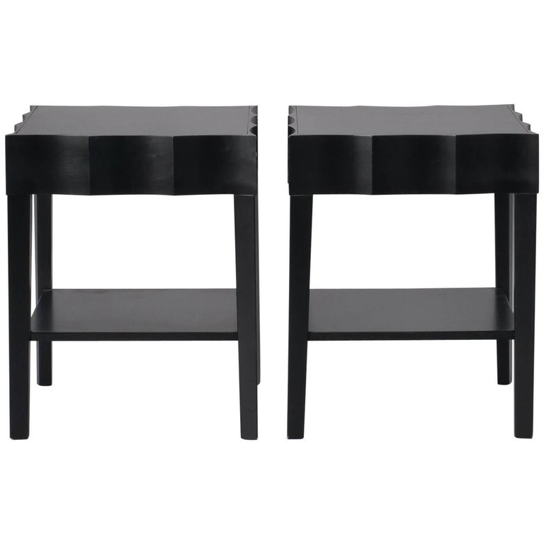 Pair of Scalloped Edged Black Side Tables