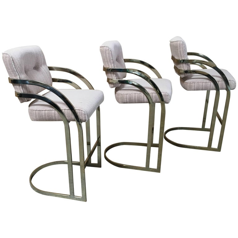 Set of Three Brass Cantilever Bar Stools