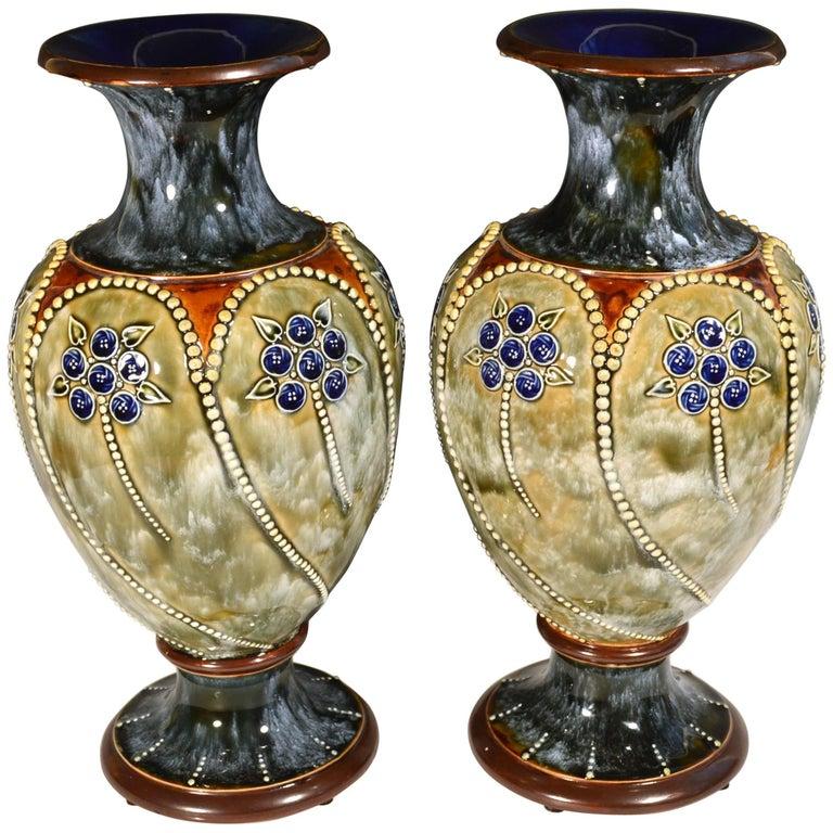 Royal Doulton Marbled Pottery Vases 1903 1905 At 1stdibs