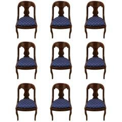 Set of Nine Antique American Gondola Dining Chairs