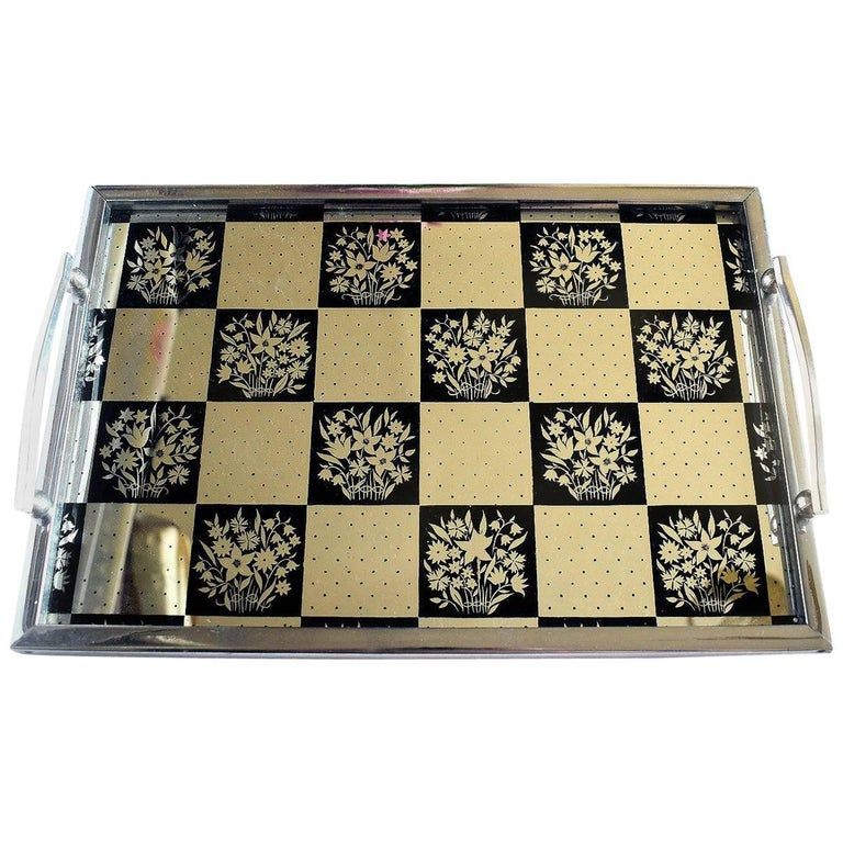 English Art Deco Mirrored Drinks Tray For Sale