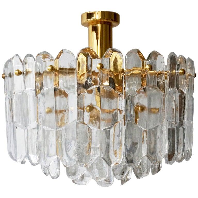 Kalmar Flush Mount or Pendant Lights 'Palazzo', Gilt Brass and Glass, 1970