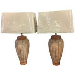Tesselated Marble Lamps, Pair