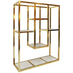 Mid-Century Brass Mirrored Étagère