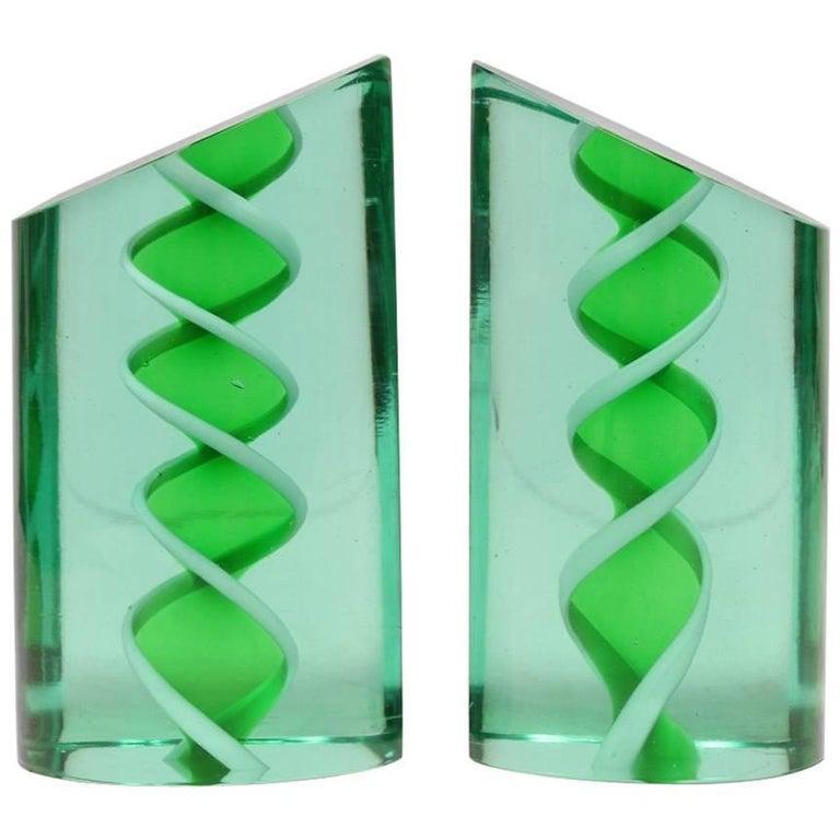 Mid-Century Italian Murano Glass Bookends