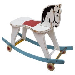 Beautiful Swedish Rocking Horse from 1950s by Brio with Foldable Wheels