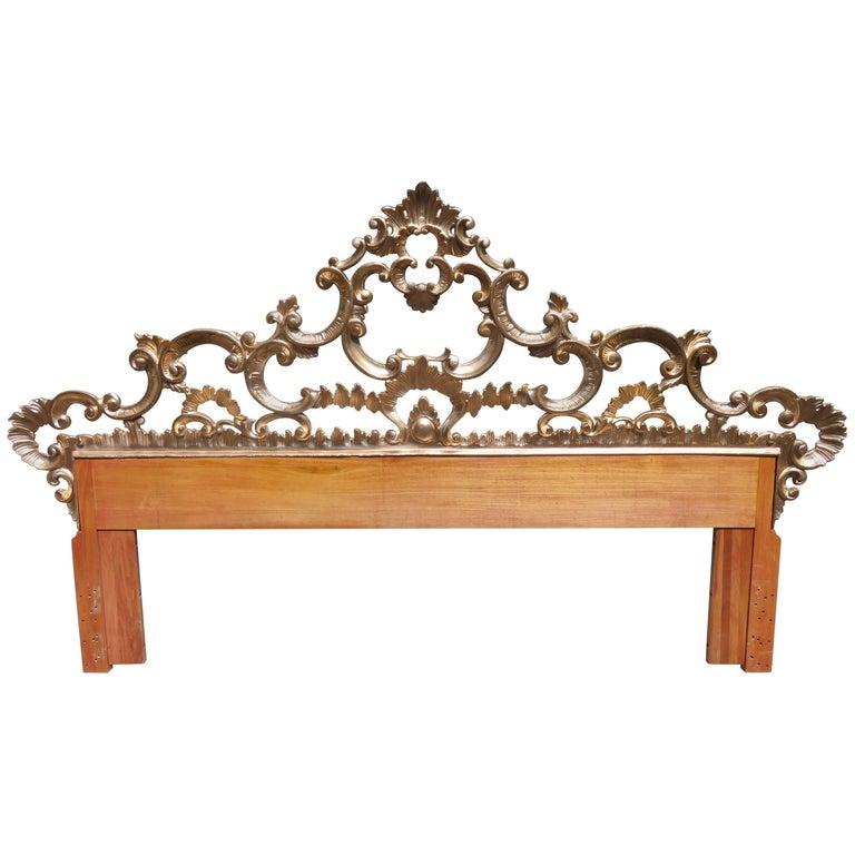 Hollywood Regency Ornate Cast Metal Antique Italian Gilded King-Size Headboard For Sale