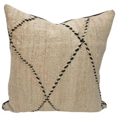 Custom Moroccan Pillow Cut from a Hand-Loomed Wool Moroccan Berber Rug