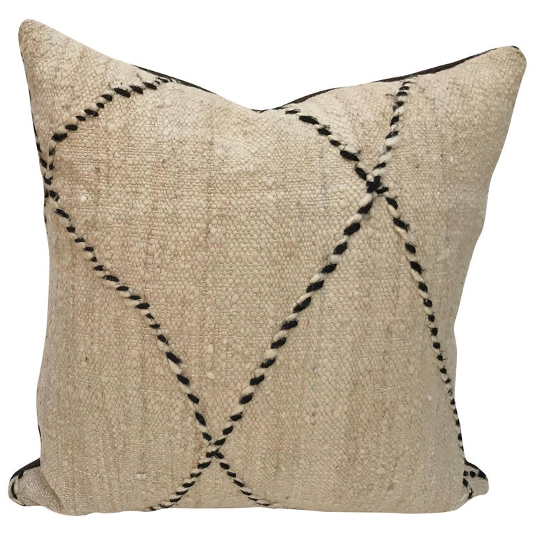 Custom Moroccan Pillow Cut From A Hand-Loomed Wool