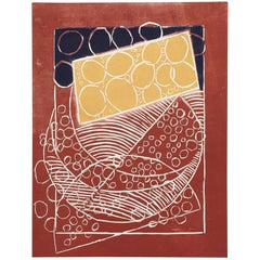 Wyona Diskin, Ocher and Blue Balls on Brick, Abstract Monoprint, circa 1985