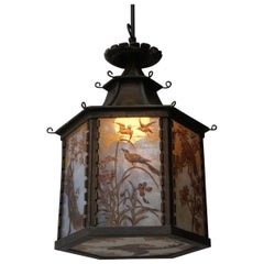 Paint Decorated and Stained Glass Lantern