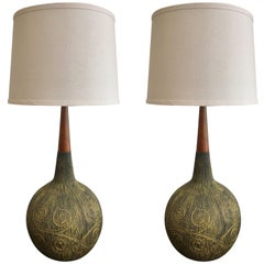 Pair of 1960s Italian Mid-Century Art Pottery Table Lamps